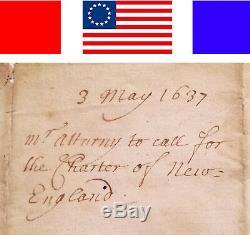 1637 ANTIQUE MANUSCRIPT CHARTER OF NEW-ENGLAND Patriotic ALS Colonial Americana