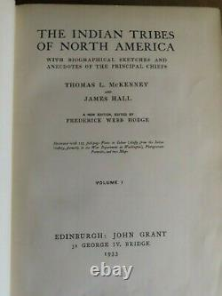 1933 THE INDIAN TRIBES OF NORTH AMERICA by MCKENNEY & HALL 3 VOLS 122 COL PLTS