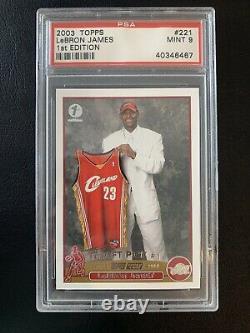 2003-04 Topps 1st Edition LEBRON JAMES #221 Rare Rookie RC PSA 9 Mint! LOW POP