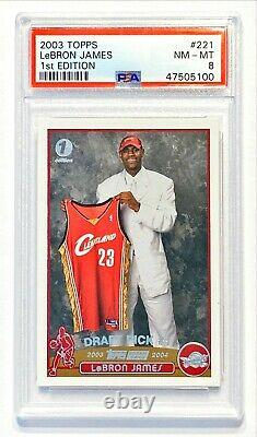 2003-04 Topps 1st Edition LEBRON JAMES #221 Rookie RC PSA 8 NM-MT! WELL CENTERED