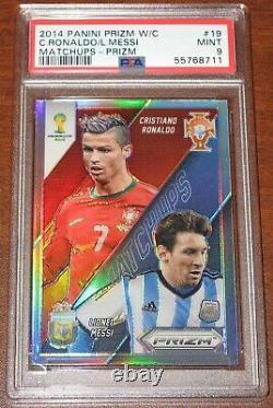 2014 Prizm World Cup Matchups Cristiano Ronaldo Lionel Messi SILVER PSA 9 Mint