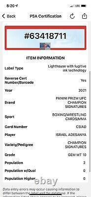 2021 Panini Prizm UFC Israel Adesanya Champion Signatures AUTO POP 2 PSA 10