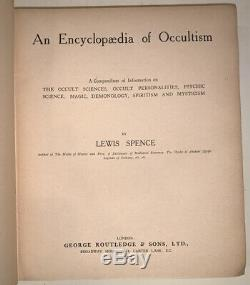 AN ENCYCLOPAEDIA OF OCCULTISM, by LEWIS SPENCE, 1920, 1st Ed, MAGIC, DEMONOLOGY