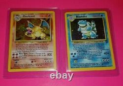 Charizard & Blastoise Pokemon Cards Original Rare Holos Base Set Foils