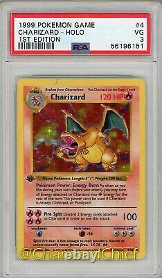 First Edition Charizard Holo Rare 4/102 Base Set Original 1999 Pokemon Card Psa