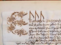 Genuine 1601 Elizabeth I Privy Seal Latin Manuscript THURLAND CASTLE Document