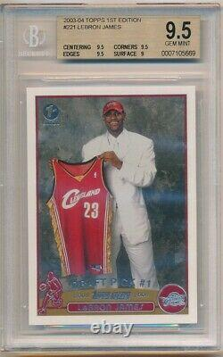 Lebron James 2003/04 Topps 1st First Edition #221 Rc Rookie Sp Bgs 9.5 Gem Mint