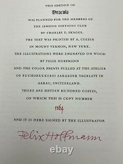 SIGNED Limited Editions Club Bram Stoker DRACULA Collectors VINTAGE Edition #ERD