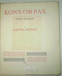SIGNED & NUMBERED, 1907, First Edition, KONX OM PAX, by ALEISTER CROWLEY, OCCULT