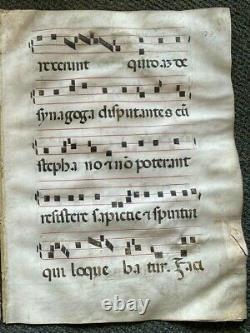 1350 Huge Original Manuscrit Médiéval Vellum Manuscrit Gratuit Express Withwide