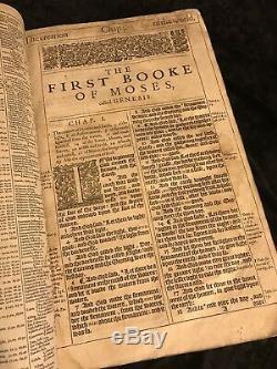 1611 King James Bible Première Édition Grande Elle Folio Version Autorisée Rare Gilt