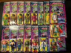 16 Super 7 Mutant D'adolescents Tortues Ninja Chiffres De Réaction Lot De Menthe Ensemble Complet