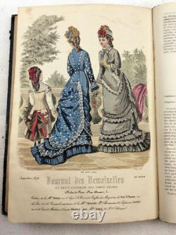 1876 Journal Des Demoiselles Mode Plaques Colorées À La Main Magazine Victorien