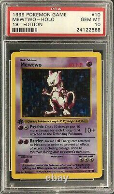 1999 1ère Édition Originale Shadowless De Base Carte Mewtwo Mint Psa 10