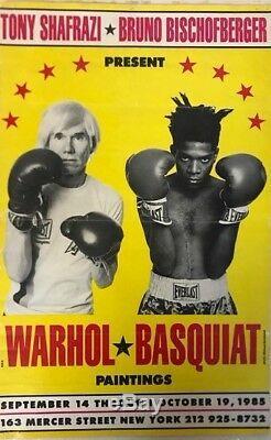 1ère Édition Originale Warhol- Poster Basquiat. Papier Tissé 1985 Très Bon Cond