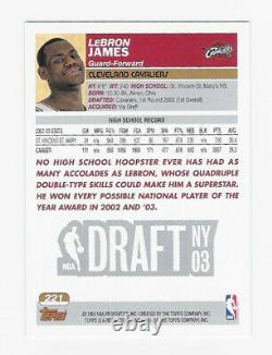 2003-04 Topps Lebron James Rookie 1ère Édition Carte #221 Rare Psa 10
