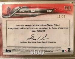2018 Topps Chrome Ohtani Rookie Auto 15/20 Topps Exclusive Rare De L'employé