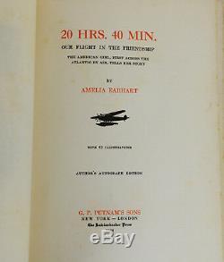 20 Heures. 40 Min. Earhart Signe Limitée Amelia Première Édition 1928 Flag Aviation