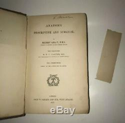 Anatomie Gray Descriptive & Surgical! (première Édition! 1858) Chirurgie Médicale Rare