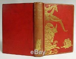 Antique 1899 Livre Rouge Des Histoires Animaux Andrew Lang Enfants Art Nouveau