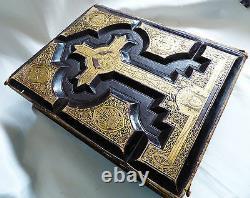 Antique Vtg Holy Catholic Bible Douay & Rheims 1800's. 22 Cuir Doré Kt Gold