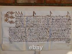 Authentique 1601 Elizabeth I Privy Seal Latin Manuscript Thurland Castle Document