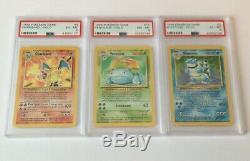 Charizard Blastoise Venusaur Originale Holos Carte Pokemon Lot Psa Set De Base