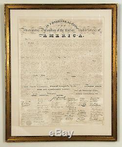 Déclaration D'indépendance Benjamin Tyler Première Impression Avec Signatures Autographiées