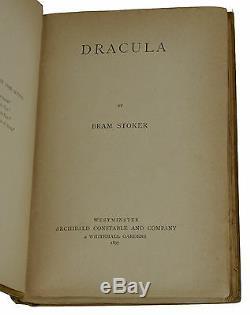 Dracula Stoker Bram Première Édition 1897 1er Archibald Constable