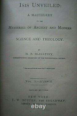 Isis Dévoilé 1ère Édition 1ère Impression 1877 Blavatsky Moins De 20 In Existance