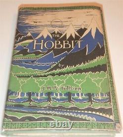 J. R. R. Tolkien, Bilbo Le Hobbit, 1937, 1ère Édition, 2ème Imp. Avec Original Jacket