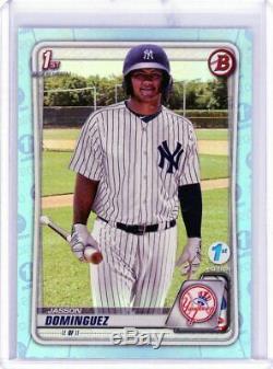 Jasson Dominguez 2020 Bowman 1ère Édition Blue Sky Foil Rookie Card Rc Sp Yankees
