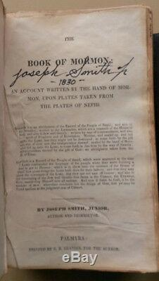 Lds Livre De Mormon 1830 1er Ed Signé Prophète Et Témoins Exact Vente Repro
