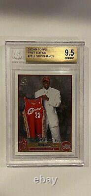 Lebron James 2003-04 Topps 1ère Édition #221 Rookie Card Bgs 9.5 Gem Mint, Nice
