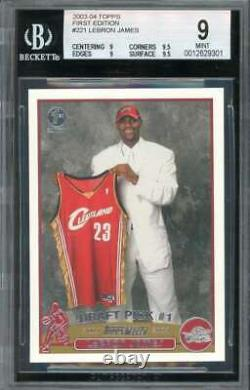 Lebron James Rookie Card 2003-04 Topps First Edition #221 Bgs 9 (9 9.5 9 9.5)