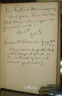Livre Appartient À Ernest Hemingway, Pas La Paix Mais L'épée, Signée, 1939, 1er, Sheean