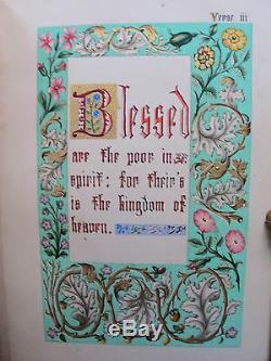 Manuscrit Christian Paraboles Lumineuse Peint Bible Main Peinture Miniatures