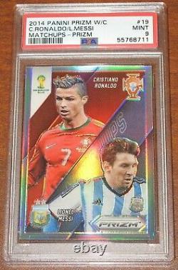 Matchups De Coupe Du Monde Prizm 2014 Cristiano Ronaldo Lionel Messi Silver Psa 9 Mint