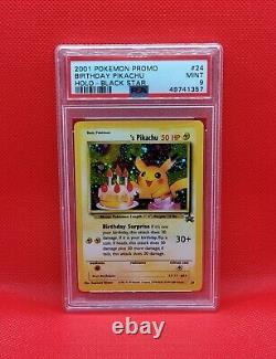 Mint Psa 9 Anniversaire Pikachu Holo Black Star Promo #24 Original 151 Pokemon Card