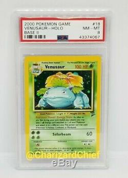 Monnaie Venusaur Holo Rare Carte Originale Pokémon Base 2 Collection 18/130 Psa