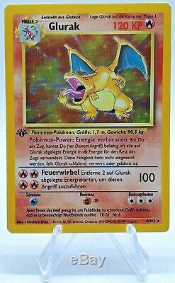 Pokemon Tcg 1ère Édition Dracaufeu Glurak Base Allemande Set Lp 4/102 Holographique