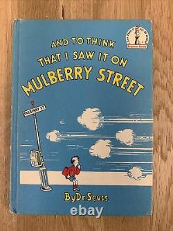 Rare 1937 Book Club And To Think That I Saw It On Mulberry Street Dr Seuss
