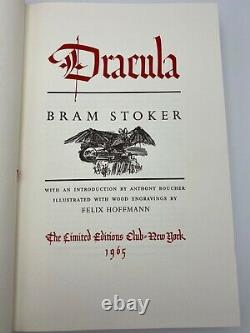 Signé Limited Editions Club Bram Stoker Dracula Collectors Vintage Edition #erd