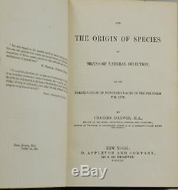 Sur L'origine Des Espèces Charles Darwin Première Édition Américaine 1860 1er Edition