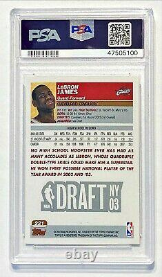 Topps 2003-04 1ère Édition Lebron James #221 Rookie Rc Psa 8 Nm-mt! Bien Centré