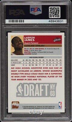Topps 2003 1ère Édition Lebron James Rookie Rc #221 Psa 10 Gem Mint