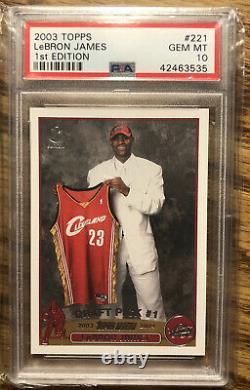 Topps 2003 1ère Édition Lebron James Rookie Rc #221 Psa 10 Gem Mint Pop 97