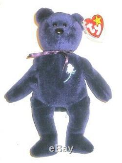 Ty Princesse Diana Bonnet Ours D'origine Pvc Pellets 1997 1ère Édition