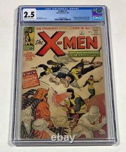 X-men #1 Cgc 2.5 Mega Cley! (1ère Apparition Et Origine De X-men!) 1963 Marvel Comics
